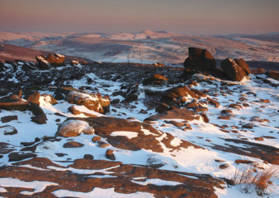 Winter dawn, The Roaches looking towards Shutlingsloe, Staffs Peak District AV