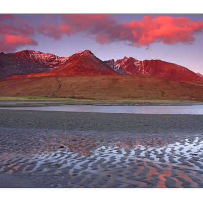 Afterglow, Cuillin from Loch Brittle, Skye