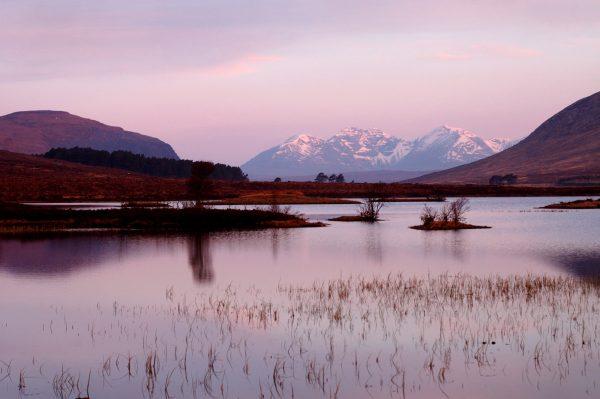 An Teallach at dawn from Loch Droma